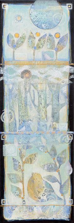 Acrylic,mixed media by Sue Davis  ,8x24