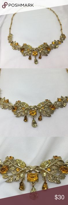 """Vintage Coro Gold & Citrine Rhinestones Necklace A beautiful, almost perfect necklace with yellow and orange Citrine rhinestones with teardrop pendants. Adjustable up to 16""""  Nicely articulated for ease of wear. In excellent vintage condition; little wear is noted. For Prom or other special occasions! Vintage Jewelry Necklaces"""