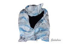 Seidenschal AugustWolke in grau blau. Weicher Schal in 100% Seide. Seidentuch in 45 x 140 cm http://de.dawanda.com/product/104626039-seidenschal-augustwolke  - ein Designerstück von Salabrin bei DaWanda