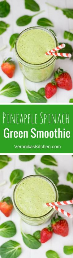 Pineapple Spinach Green Smoothie recipe with Chia seeds is a great healthy idea for breakfast, lunch, or a workout. ( smoothie recipes, smoothie bowl, smoothie recipes healthy, smoothies healthy, smoothie with spinach, smoothie with pineapple )
