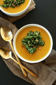 Simple Pumpkin Soup with Sesame & Garlic Kale Topping