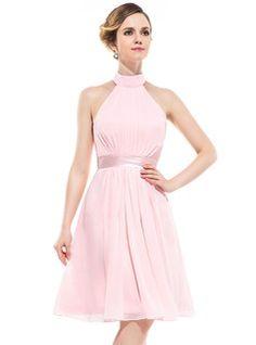 A-Line/Princess Halter Knee-Length Chiffon Charmeuse Bridesmaid Dress With Ruffle
