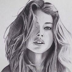 Pencil Drawings Of Girls, Realistic Pencil Drawings, Girl Drawing Sketches, Portrait Sketches, Portrait Art, Drawings Pinterest, Drawing People Faces, Portraits, Beauty Art