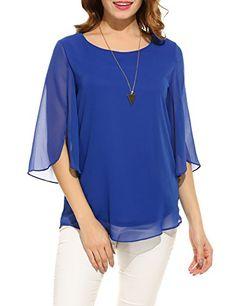Hount Women Casual Loose Pullover Chiffon Blouse Sleeve Solid Chiffon Shirt (L, Blue) Chiffon Shirt, Chiffon Tops, Womens Fashion Casual Summer, Casual Tops, Neue Trends, Shirt Blouses, Loose Tops, Pullover, Clothes