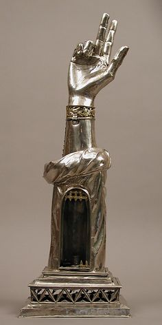 The Reliquary Arm of St. Valentine, 14th century, on view at the Met in NYC, gallery 306