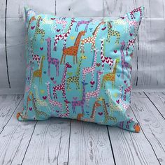 Giraffe Cushion, blue, home decor, bedroom, gift, present, celebration Blue Home Decor, Home Decor Bedroom, Giraffe, Celebration, Presents, Cushions, Throw Pillows, Unique Jewelry, Handmade Gifts