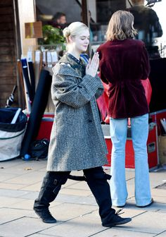 Elle Fanning was spotted on the set , how to talk to girls at parties, on November 13, 2015 in Sheffield , England.