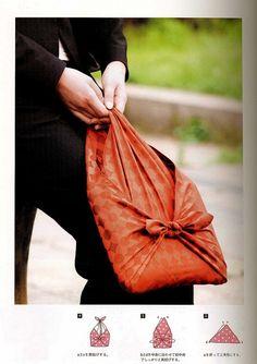 Furoshiki, the Japanese eco-art of gift wrapping with cloth%u2026cool book bag idea.