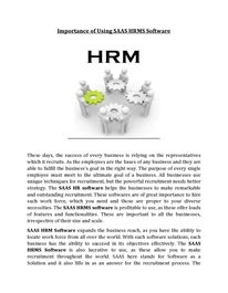 Importance of Using SAAS HRMS Software