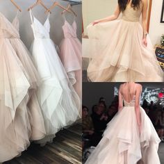 love this v neck princess ball gown wedding dress with ruffles skirts,available in champagne,blush pink,white