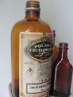 Vintage Amber Bottle collection of three by BarnshopAntiques, $28.00 Amber Bottles, Humble Abode, Whiskey Bottle, Boston, Lime, Perfume, Decorating, Fruit, Vintage