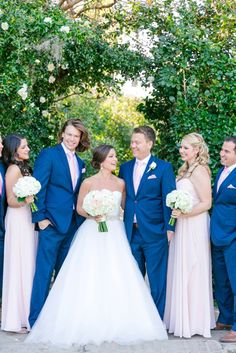 Long Blush Bridesmaid Dress And Navy Blue Suits Ivory Gold