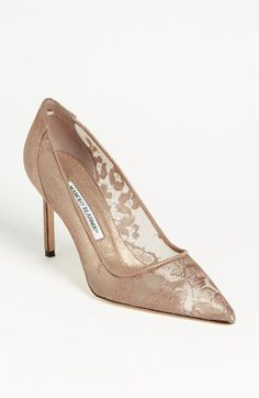 So cute with the nude lace. This goes with everything. Manolo Blahnik Lace Pump available at #Nordstrom