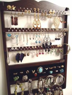 Wall Hanging Jewelry Organizer by barbwireandbarnwood on Etsy