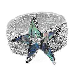 Silvertone Rhinestone and Marcasite Abalone Starfish Stretch Bangle Bracelet $24.99