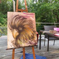 "Acrylic painted on canevas. Artwork. Parrot. Bird. Black cackatoo. 18x22"". Diane Tremblay"
