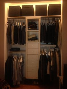 Materials: Expedit 5x1, Dröna black, Stuva Grundlig, LedbergDescription: I had a built-in wardrobe with large wood doors.• I took it apart, stripped all off