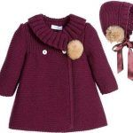 """Детское пальто спицами """"Baby girls burgundy red traditional heritage style knitted coat and bonnet set by Foque. This charming styled outfit is ideal to be Baby Knitting Patterns, Coat Patterns, Knitting For Kids, Crochet For Kids, Crochet Baby, Knitting Ideas, Crochet Patterns, Knitting Toys, Knitting Sweaters"""