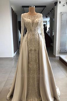 A-line Scoop Floor Length Long Sleeve Prom Dresses Evening Dresses Gold Wedding Gowns, Luxury Wedding Dress, Bridal Gowns, Wedding Dress Blue, Prom Dresses Long With Sleeves, Prom Dresses 2018, Dark Green Prom Dresses, Lilac Prom Dresses, Beaded Dresses