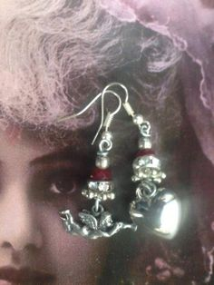Romantic Heart and winged cherub Earrings, upcycled, mismatched, Silver angel statement jewelry, handmade, Victorian style, Cupid, love, Angel Earrings, Heart Earrings, Quirky Gifts, Heart Locket, Cherub, Vintage Earrings, Victorian Fashion, Statement Jewelry, Gifts For Her