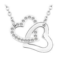 Le Premium® Herzen zusammen Kristall Anhänger Halskette MADE WITH SWAROVSKI® ELEMENTS Kristallklar kristalle