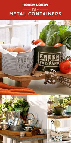 From drab to fab – update basic metal containers into spectacular home decor accents with items from our Crafts department. Metal Containers, Fall Diy, Spring Cleaning, Getting Organized, Home Organization, Decorating Tips, Accent Decor, Diy Gifts, Kitchen Dining