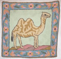 """NEW 16"""" Camel & Flowers Embroidery Crewel Chainstitch Pillow-Case, Cushion Cover"""