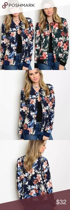 Tropical floral bomber jacket Tropical floral bomber jacket. Lining inside. Zippered closure. Material : Fabric Content: 100%Polyester  Color: Green, Navy Comes in small, med and large. Please refer to size chart Jackets & Coats