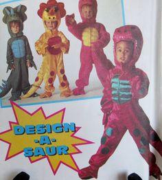 Vintage 1993 Simplicity Toddler Kids Dinosaur Halloween Costume Children Sewing Pattern Simplicity # 8643 UNCUT Sizes 2-6**Epsteam