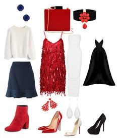 """1 purse 1 necklace 4 outfits"" by bloodrose6 on Polyvore featuring Lulu Guinness, Chicwish, Opening Ceremony, Stuart Weitzman, Ashish, J.Crew, Christian Louboutin, Rick Owens, Alex Perry and New Look"