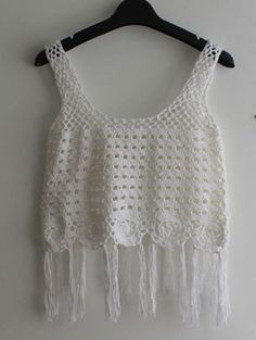 Top crochet flecos tank -blanco-Spanish SheIn(Sheinside) Sitio Móvil Crochet Summer Tops, Crochet Tops, Crochet Fringe, Boho Style Dresses, Festival Wear, Top P, Crop Tops, Tank Tops, Aliexpress