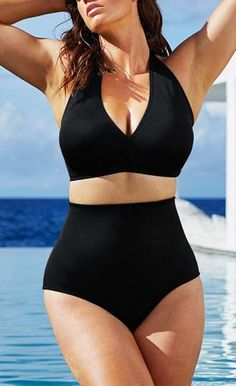 2d7568e8e5 Solid Black High-Waisted Plus size Bikini Swimsuit LAVELIQ Material   Polyamid+Elasthan Size  Xl