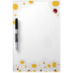 Whimsical White Daisies Flowers Ladybugs Erase Board by fatfatin