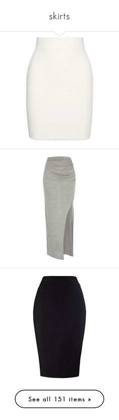 """skirts"" by youngfashionaddict ❤ liked on Polyvore featuring skirts, bottoms, saias, alexander mcqueen, white, mini, white knee length skirt, jacquard pencil skirt, pull on pencil skirt and white pencil skirt"