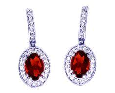 14K White Gold Small Oval Garnet Gemstone and Diamond Drop Earrings