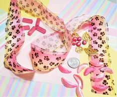 CP-111; Mini Mix of Pink, Light Yellow, and Gold. A Yard of Ribbon, Assorted Beads and Embellishments Pink Light, Different Textures, Upcycled Crafts, Craft Items, Embellishments, Ribbon, Yard, Beads, Yellow
