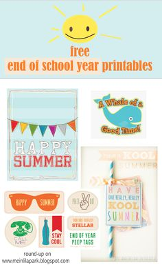 Free printable happy summer gift tags - end of school year - links | MeinLilaPark – DIY printables and downloads