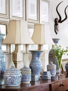 WSH <3 a collection of blue and white chinoise for the dining room.