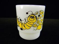 Fire King Caterpillar Mug Signed Hildi
