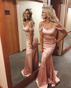 Sexy Off the Shoulder Prom Dress,Mermaid Prom Dress,Sexy Evening Dresses,Long Pink Crystal Party Dress