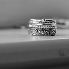 Love these.....Five Sterling Silver Rings in a Stack by tinahdee on Etsy, $125.00