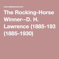 the rocking horse winner full story