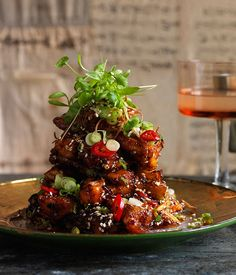 Australian Gourmet Traveller recipe for crisp eggplant with black bean sauce by Dan Hong.