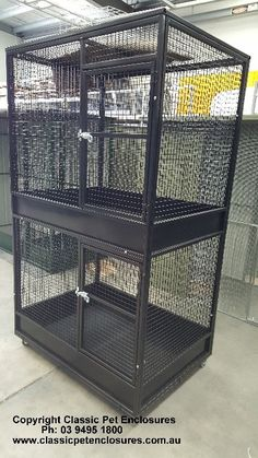 Double story bird Aviary. Pull out cleaning draws on Quality Castors. Custom Designed.