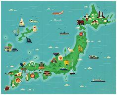 Japan map illustrations for Monocle Magazine