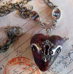 * sacred heart keyhole clock winding key pendant by inthewillows *