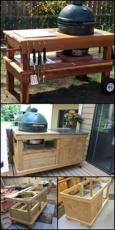 Big Green Egg Grill, Big Green Egg Outdoor Kitchen, Big Green Egg Table, Backyard Kitchen, Outdoor Kitchen Design, Green Eggs, Backyard Patio, Outdoor Kitchens, Patio Grill