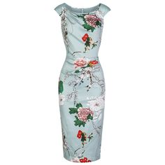 Soft Green Floral Print Wiggle Pencil Dress – Pretty Kitty Fashion