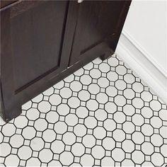 For the shower floor-Merola Tile Metro Octagon Matte White with Dot in. x 5 mm Porcelain Mosaic Tile sq. / case)-FXLMOWWT - The Home Depot Bathroom Floor Tiles, Shower Floor, Wall Tiles, Bathroom Fixtures, Diy Shower, Bath Shower, Black Interior Doors, Mosaic Tiles, Cement Tiles