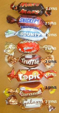Chocolate Syns :) (chocolate snacks slimming world) Slimming World Shopping List, Slimming World Sweets, Slimming World Syns List, Slimming World Survival, Slimming World Syn Values, Slimming World Free, Slimming World Recipes Syn Free, Slimming Eats, Slimmers World Recipes